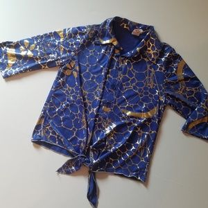 Vintage Blue Crop Tie Top